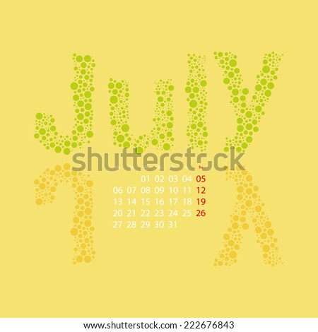 Abstract Dotted Monthly Calendar Design Elements Template, Clip-art with Label Made of Bubbles in Seasonal Colors - July, 2015 - stock vector