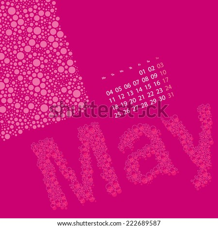 Abstract Dotted Monthly Calendar Design Elements Template, Clip-art with Label Made of Bubbles in Seasonal Colors - May, 2015 - stock vector