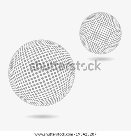 Abstract dotted spheres - stock vector