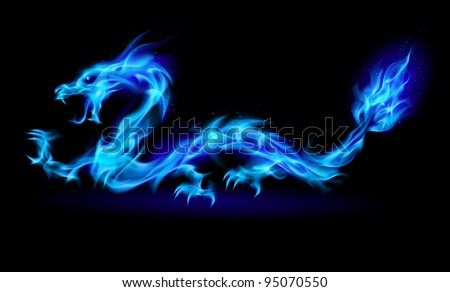 Abstract Dragon. Illustration on black background for design - stock vector