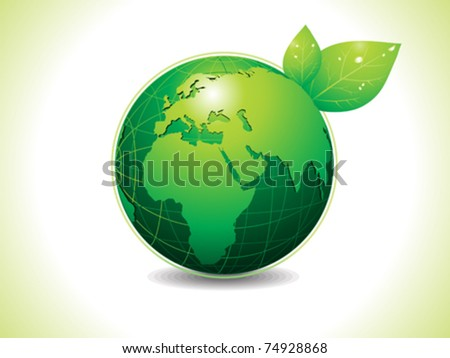 abstract Eco green globe with leaf voter illustration - stock vector