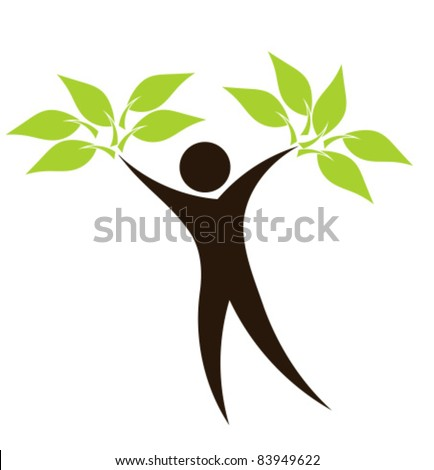 Abstract eco man with green leaves silhouette - vector ecological concept - stock vector