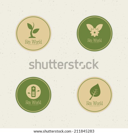 abstract eco world labels on a special background - stock vector
