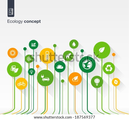 Abstract ecology background with lines, circles and flat icons. Growth concept contains eco, earth, green, recycling, nature, bicycle, sun, car and home icon. Vector illustration. - stock vector
