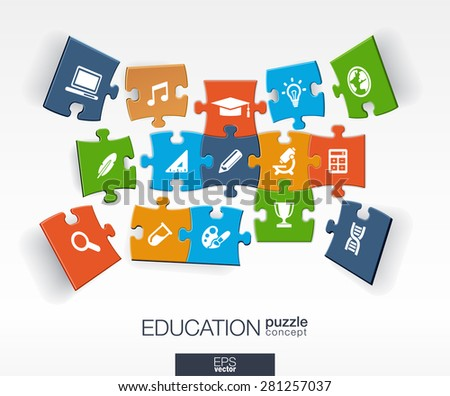 Abstract education background, connected color puzzles, integrated flat icons. 3d infographic concept with school, science, geography, biology, microscope pieces in perspective. Vector illustration. - stock vector