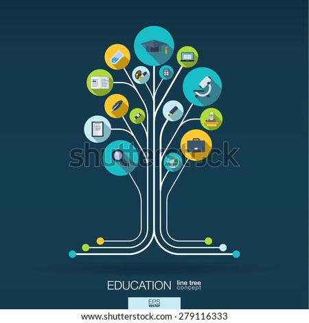 Abstract education background with lines, connected circles and integrated flat icons. Growth tree concept with school, science, geography, biology, microscope icon. Vector interactive illustration. - stock vector