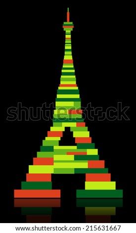 Abstract Eiffel tower made from color squares - stock vector