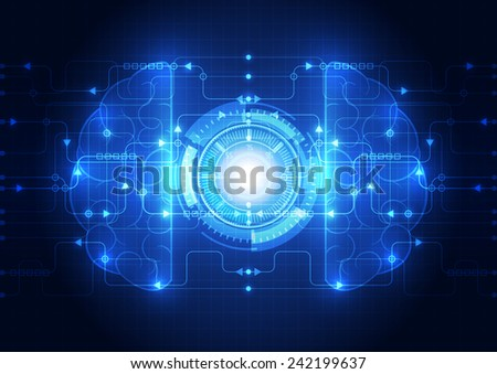Abstract electric circuit digital brain,technology concept vector - stock vector