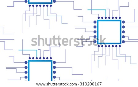 Abstract electronic circuit, seamless background. Vector illustration - stock vector