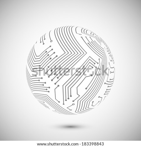 Abstract electronic devices or computer circuits global network sphere emblem poster vector illustration - stock vector