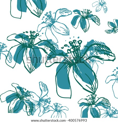 Abstract Elegance seamless floral pattern. Beautiful flowers vector illustration texture. - stock vector
