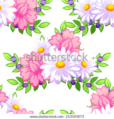 Abstract Elegance Seamless pattern with floral background - stock vector