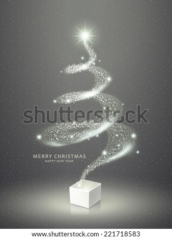abstract elegant sparkling Christmas tree over grey  - stock vector