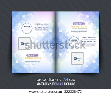 Abstract Elements Bi-Fold Brochure Design. Corporate Leaflet, Clean Cover Template, Blurred Background - stock vector