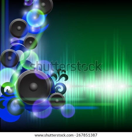 Abstract equalizer background with speakers. Blue-Green wave. EPS10 vector. - stock vector