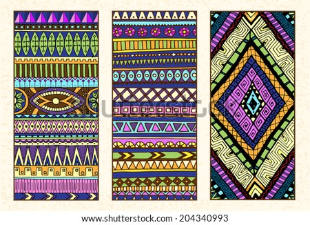Abstract Ethnic Pattern Cards On Wood Background. Tribal texture. Series of image Template frame design for card. EPS10 organized in groups for easy editing. - stock vector
