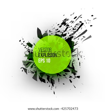 Abstract explosion cloud of green black glass pieces on white background for design template with circle. Grunge vector illustration. - stock vector