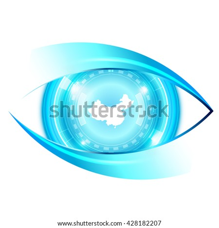Abstract eye future technology, China map - stock vector