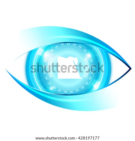 Abstract eye future technology, Egypt map - stock vector