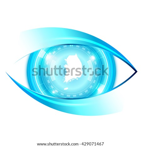 Abstract eye future technology, South Korea map - stock vector