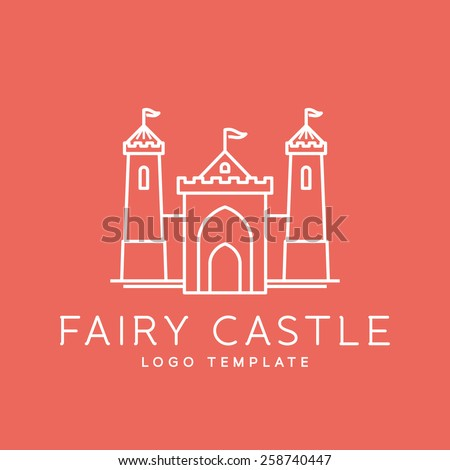 Abstract Fairy Tale Castle Line Style or Outlined Vector Logo Template - stock vector