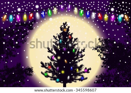 Abstract falling snow, new year Christmas tree with lights decorations and contour of tree leaves on violet sunset background. Style background for decoration and cards design. Vector illustration - stock vector