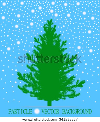 Abstract falling snow particles and new year Christmas tree on cyan background. Style background for presentation, cards, scientific and jewelry design. Vector illustration - stock vector
