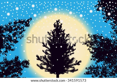 Abstract falling snow particles, new year Christmas tree and contour of tree leaves on purple sunset background. Style background for presentation, decoration and cards design. Vector illustration - stock vector