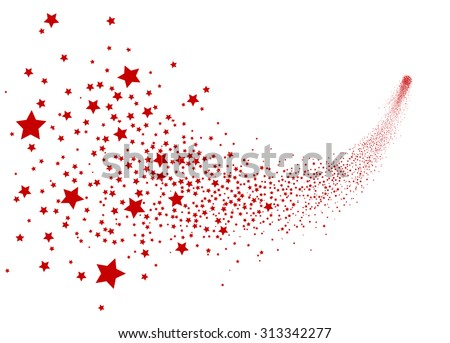 Abstract Falling Star Vector - Red Shooting Star with Elegant Star Trail on White Background - Meteoroid, Comet, Asteroid, Stars - stock vector