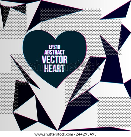 Abstract fashion background with heart. Design for Valentine's Day party flyers. Vector illustration. - stock vector