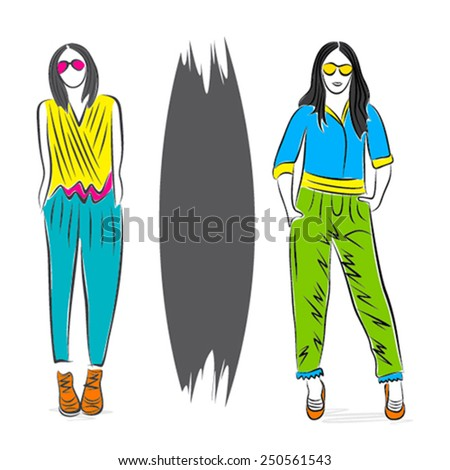 abstract fashion model on stylish pose design vector - stock vector