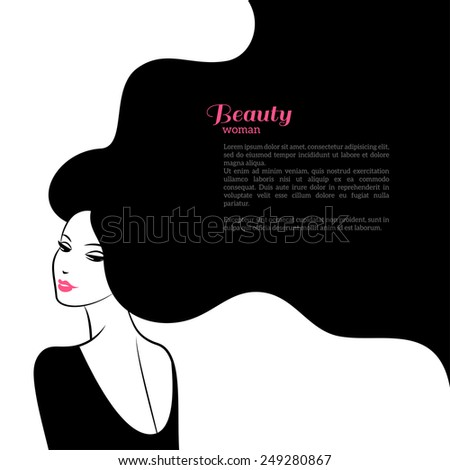 Abstract Fashion Woman with Long Hair. Vector Illustration. Stylish Design for Beauty Salon Flyer or Banner. Girl Silhouette - cosmetics, beauty, health & spa, fashion themes. - stock vector