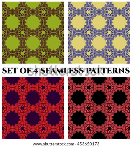 Abstract fashionable seamless patterns with fractal decorative ornament of green, purple, yellow, blue, red, pink and black shades - stock vector