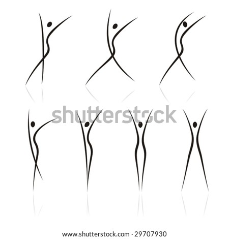 abstract female figures in movement on a white background - stock vector