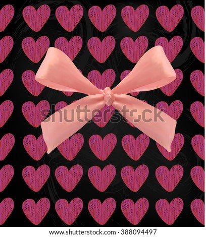 Abstract festive background with hearts and bow. VECTOR illustration. Pink on black - stock vector