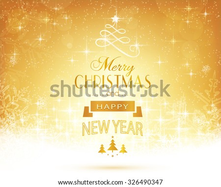 Abstract festive background with out of focus light dots, stars, snowflakes and sparkling light effects and the lettering Merry Christmas and Happy New Year - stock vector