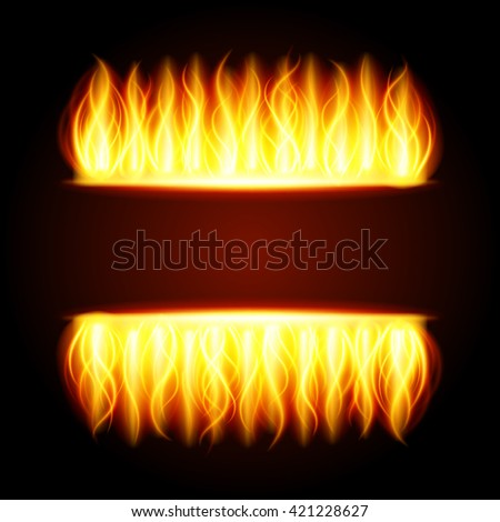 Abstract fire flame light on black background vector illustration. Burning flames translucent elements special Effect. - stock vector