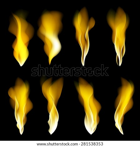 Abstract fire flames black background. Colorful vector illustration eps10 art - stock vector