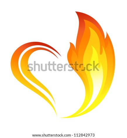 Abstract fire flames icon with heart element - stock vector