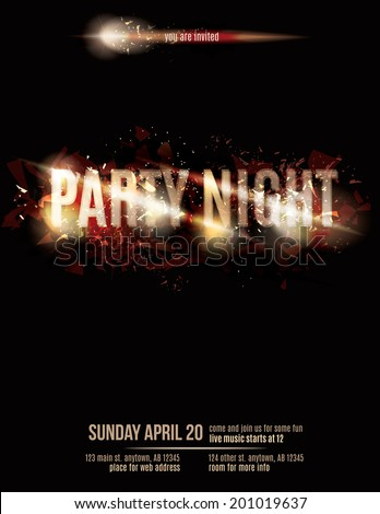 Abstract fire party flyer template - stock vector