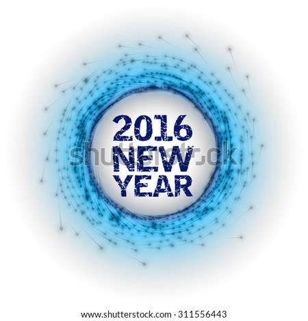Abstract fireworks circle with New Yer 2016. - stock vector