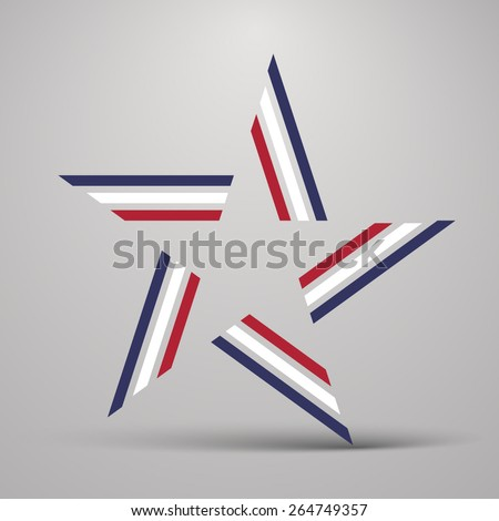 Abstract five pointed star made from color lines - stock vector