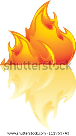 Abstract flame isolated on the white. Vector - stock vector