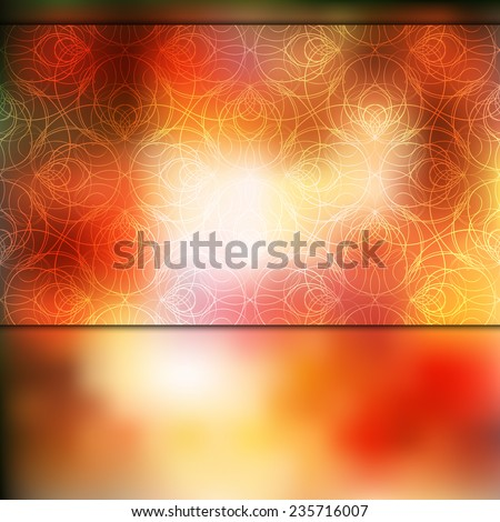Abstract flaming red card or invitation template with nice decorative pattern, blurry background and place for your text. - stock vector