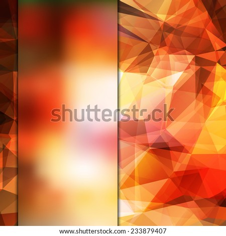 Abstract flaming red card or invitation template with polygonal geometric background and place for your text. Fully editable. - stock vector