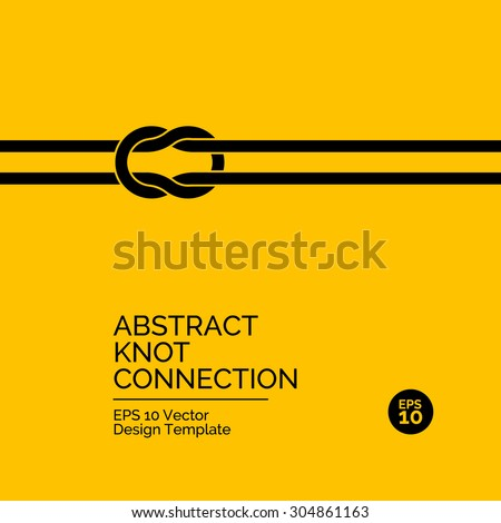 Abstract flat design concept with knot connection on yellow background. Vector illustration - stock vector