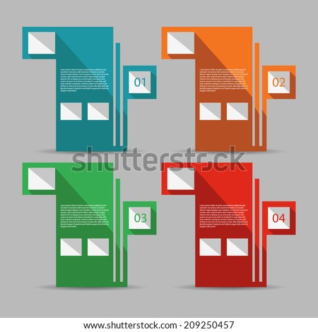 Abstract flat design template / numbered banners. - stock vector