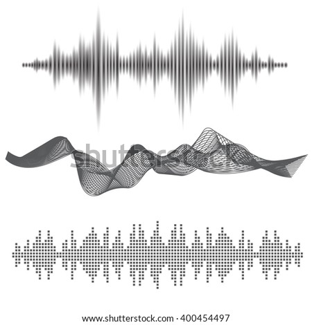 Abstract flat design vector sound waves collection. Equalizer technology vibration set. Minimalistic / fluorescent / shine style  - stock vector