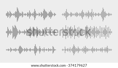 Abstract flat design vector sound waves collection. Equalizer technology vibration set. Equalizer, sound waves image. Equalizer, sound waves illustration. Equalizer, sound waves set. Equalizer vector. - stock vector