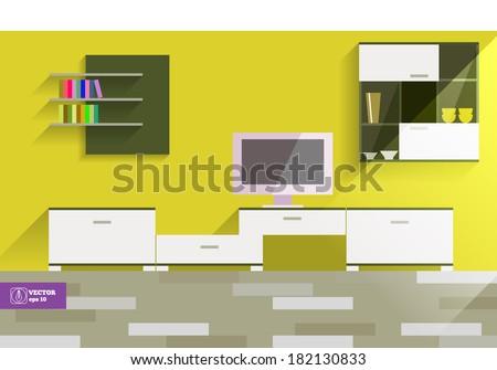 Abstract Flat Interior Design. Vector - stock vector